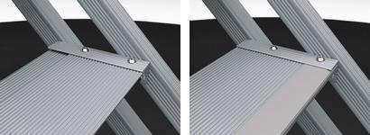 Uimaporras, alumiininen askelma, kuva edestä