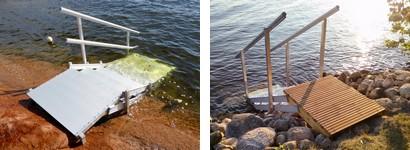 Uimaportaat rantarinteelle tai rantatörmälle